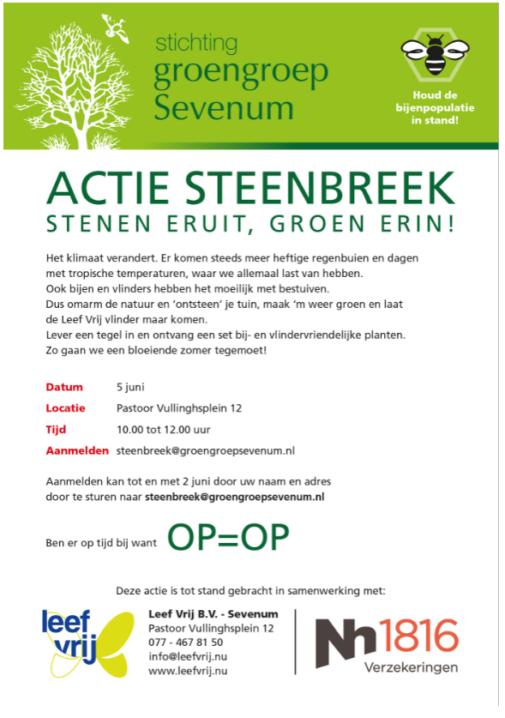 Zaterdag 5 juni 2021 Actie Steenbreek